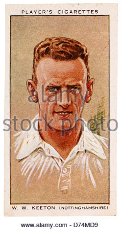 William Walter Keeton 1905-1980 was a cricketer who played cricket for Nottinghamshire and England. EDITORIAL ONLY - Stock Photo