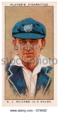 Stanley Joseph McCabe 1910 - 1968 was a cricketer who played for New South Wales and Australia. EDITORIAL ONLY - Stock Photo