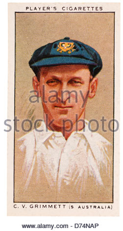 Clarence Victor 'Clarrie' Grimmett 1891 – 1980. He was New Zealand born but played cricket for South Australia. - Stock Photo