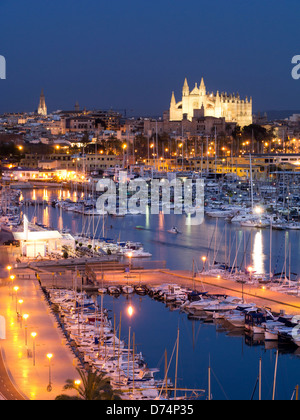 View over Palma Bay and Cathedral, Palma, Mallorca, Spain - Stock Photo