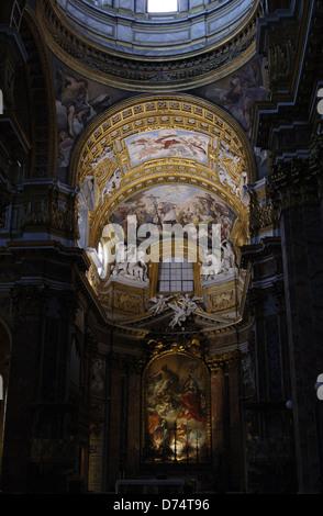 Italy. Rome. Basilica of San Carlo al Corso. Apse niche woth fresco and altarpiece. - Stock Photo