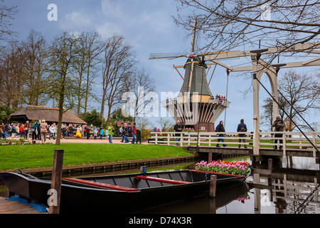Windmill, Keukenhof, Lisse, South Holland, Netherlands - Stock Photo