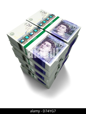 £20 pound notes on white background - Stock Photo