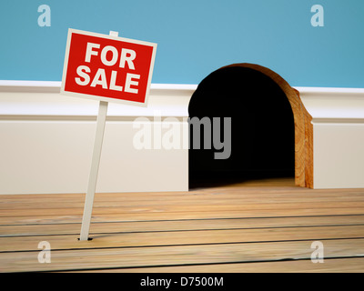 House for sale concept - Mousehole home for sale sign - housing, selling, buying, moving home, moving house, real - Stock Photo