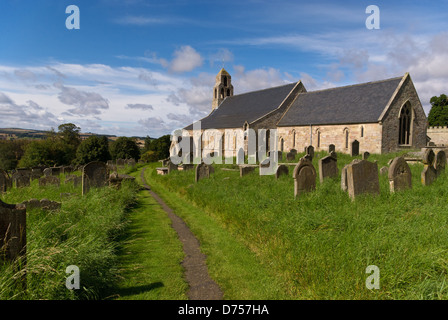 Exterior view of the church of St Michael and All Angels on the outskirts of the village of Ford, Northumberland - Stock Photo