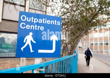 Outpatients Centre, sign for the NHS outpatient clinic, Addenbrookes Hospital cambridge UK - Stock Photo