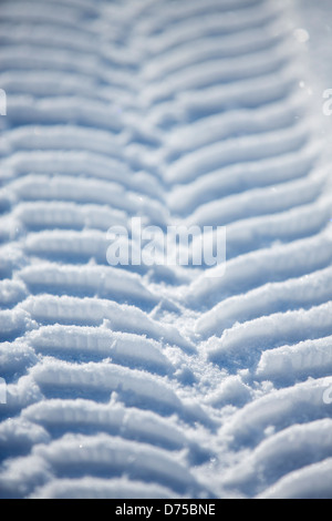 Car winter tire tracks on snow - Stock Photo