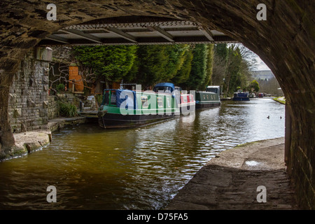 Canal boats on the Rochdale Canal - Hebden Bridge - Stock Photo