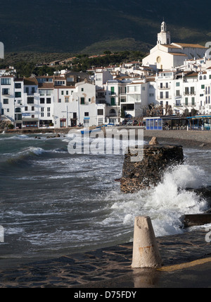 View of Port d'Alguer beach and Santa Maria de Cadaques church, Cadaques , Girona , Spain - Stock Photo