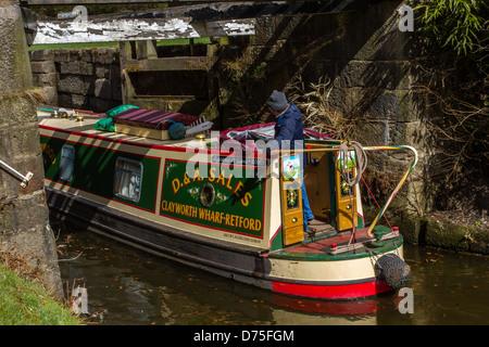 Entering a Lock 8, Mayroyd Mill Lock on the Rochdale Canal, Hebden Bridge - Stock Photo
