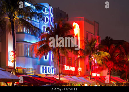 Row of hotels, Colony Hotel, South Beach, Miami Beach, Florida USA - Stock Photo