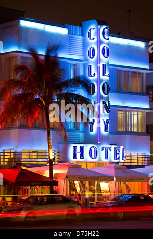Colony Hotel, South Beach, Miami Beach, Florida USA - Stock Photo