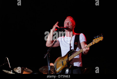 English musician Sting performs during a live event in the Spanish Balearic island of Ibiza.