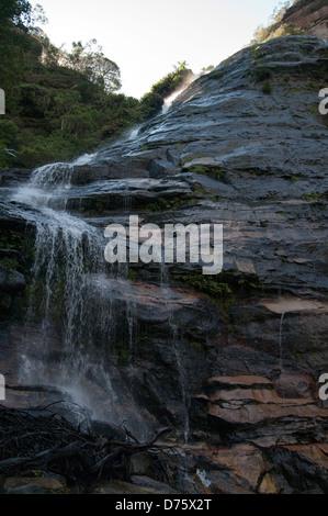 Leura Falls waterfall, Jamison Valley, Blue Mountains, NSW, Australia - Stock Photo