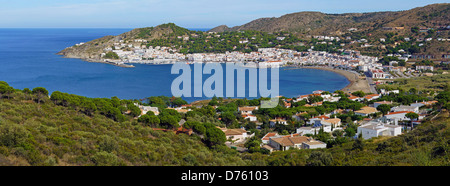 Panoramic and aerial view of a typical Mediterranean fishing village El Port de la Selva in the Costa Brava, Catalonia, - Stock Photo