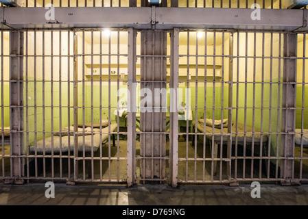 SAN FRANCISCO, California - Inside the cell block where the inmate's cells were in Alcatraz prison on Alcatraz Island - Stock Photo