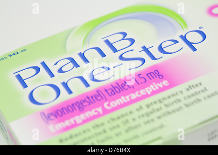 A Plan B (levonorgestrel) emergency contraceptive pill, also known as the 'Morning after pill' - Stock Photo