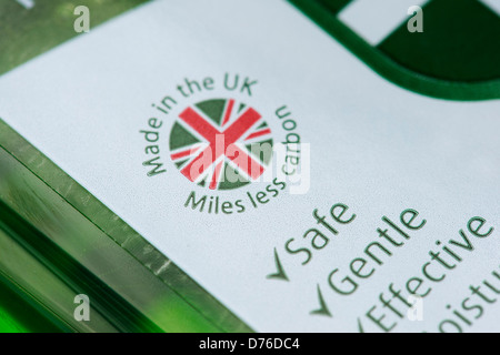 Made in the UK / Miles less carbon product packaging label - Stock Photo