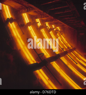 Continuous Casting Plant at Rotherham Engineering Steels U.K. Inside chamber at cooling stage. A ladle of steel - Stock Photo