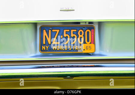 Floral Park, New York, U.S. April 28, 2013. This New York World's Fair 1965 license plate is on the rear of Don - Stock Photo