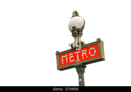 Traditional metro sign in Paris France - Stock Photo