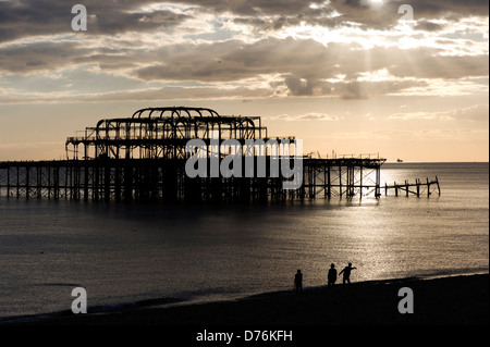 West Pier, Brighton beach, England - Stock Photo