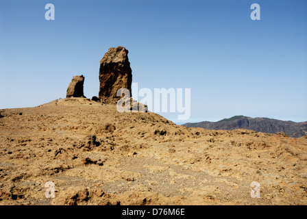 Roque Nublo 80 metres tall monolith, High up in the interior landscape of Gran Canaria, - Stock Photo