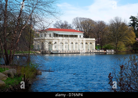 The boathouse on the lake in Prospect Park, Brooklyn which now is home to the Audubon Society. - Stock Photo
