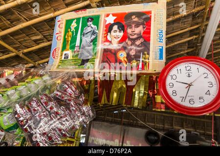 April 30, 2013 - Mahachai, Samut Sakhon, Thailand - A picture of Burmese democracy icon Aung San Suu Kyi and her - Stock Photo