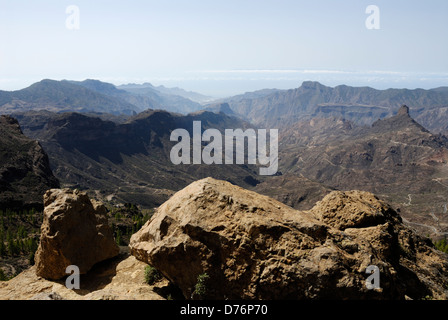 View from Roque Nublo high up in the interior landscape of Gran Canaria - Stock Photo