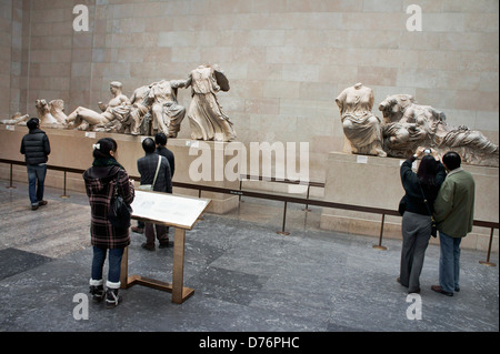 Elgin Marbles. British Museum, London. Sculpture marble figures from east pediment of the Parthenon - Stock Photo