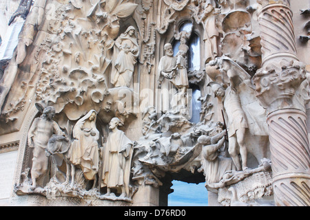 Sagrada Familia statues in Barcelona, Spain - Stock Photo