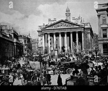 One of the first autotype photographs of the Royal Exchange in London, England, United Kingdom, circa 1880 - Stock Photo
