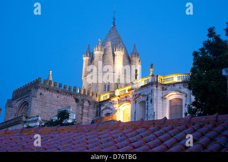 Sé Cathedral Church View over rooftops of city at twilight / dusk / night Évora Alentejo Portugal - Stock Photo