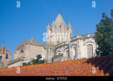 Sé Cathedral Church View over rooftops of city at sunrise / dawn Évora Alentejo Portugal - Stock Photo