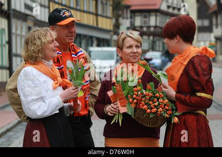 Stolberg, Germany. 30th April 2013. Selina Kulbe (R-L), who is dressed as Juliana, Countess of Stolberg-Wernigerode - Stock Photo