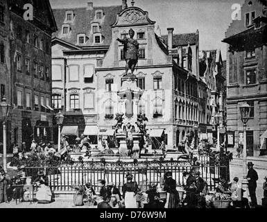 One of the first halftones, cityscape of Augsburg, Bavaria, Germany, 1880 - Stock Photo