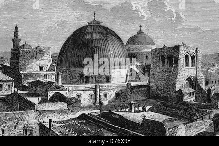 Church of the Holy Sepulchre in Jerusalem, Israel, historical woodcut, 1870 - Stock Photo