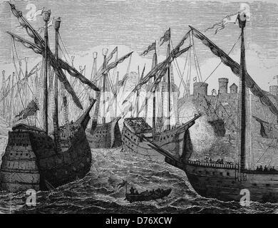 Ships of the Hanse off Copenhagen, Denmark, 1428, historical woodcut, 1870 - Stock Photo