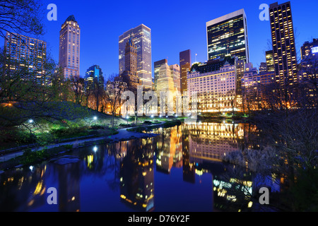 Central Park and luxury apartment and office buildings in New York City - Stock Photo
