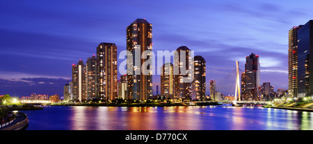 High rise residential apartments on Tsukushima in Tokyo, japan. - Stock Photo