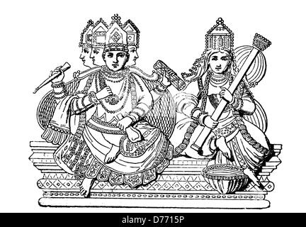 Brahma and Saraswati, Hindu gods, India, woodcut from 1880 - Stock Photo