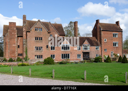Harvington Hall, a moated medieval and Elizabethan manor house in the hamlet of Harvington in Worcestershire - Stock Photo