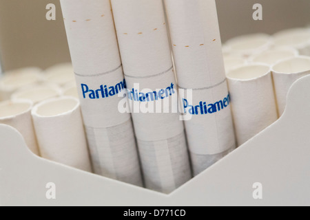 A pack of Parliament cigarettes.  - Stock Photo