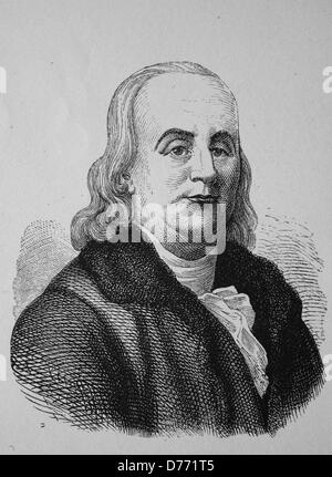 Benjamin Franklin, 1706 - 1790, one of the founders of the United States of America, the inventor of the lightning - Stock Photo