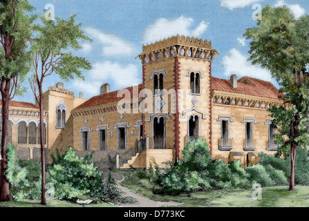 Miguel de Cervantes (1547-1616). Don Quixote of La Mancha. Palace of the Dukes in Pedrola, temporary residence of - Stock Photo