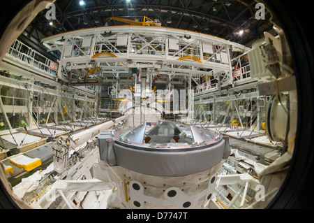 View looking at aft windows Space Shuttle Atlantis - Stock Photo
