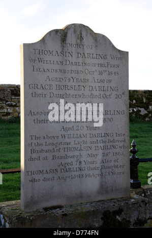 The gravestone of Grace Darling (1815-1842) and her family in Bamburgh churchyard