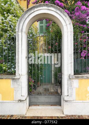 Gargnano, Italy, entrance to a private villa at the lakeside - Stock Photo