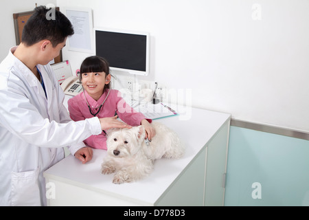 Girl with pet dog in veterinarian's office - Stock Photo
